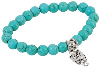 American Coin Treasures Owl Charm and Beaded Stretch Bracelet
