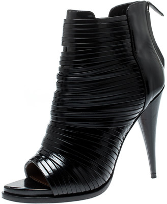 Givenchy Black Leather Peep Toe Strappy Sandals Size 40