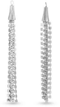 Catherine Malandrino Women's White Rhinestone Chain Tassel Style Silver-Tone Dangle Earrings