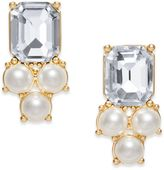 Charter Club Gold-Tone Imitation Pearl and Crystal Stud Earrings, Created for Macy's