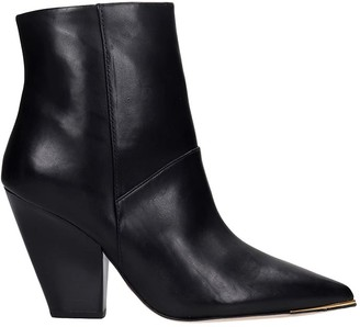 Tory Burch Lila 90mm High Heels Ankle Boots In Black Leather