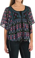 Rock & Roll Cowgirl Print Chiffon Shirt - Butterfly Short Sleeve (For Women)