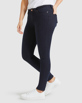 Jeanswest Women's Navy Skinny - Curve Embracer Skinny Jeans Indigo Ink - Size One Size, 10 Long at The Iconic