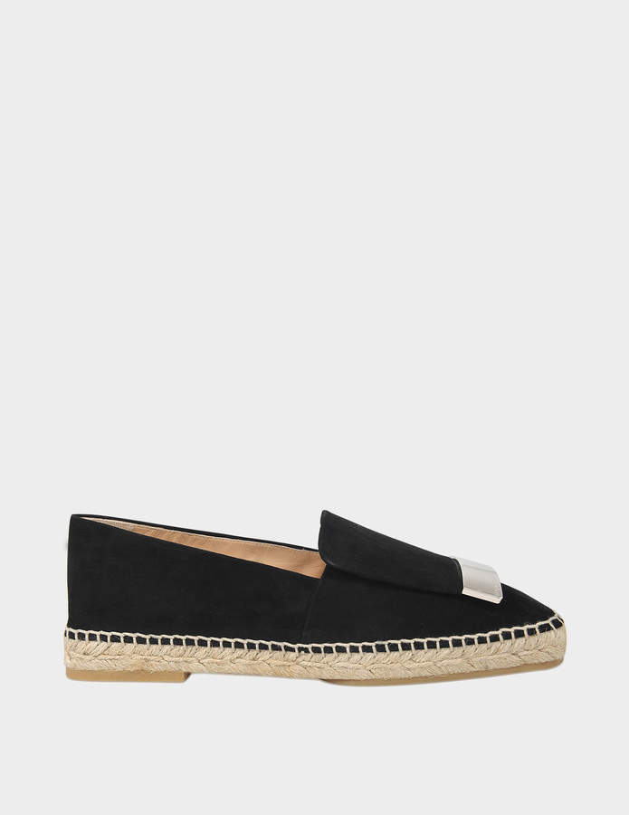 Sergio Rossi Flat Moccasin Espadrilles in Black Royal Leather