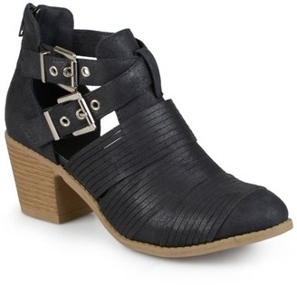 Brinley Co. Women's Faux Leather Stacked Heel Cut Out Buckle Boots