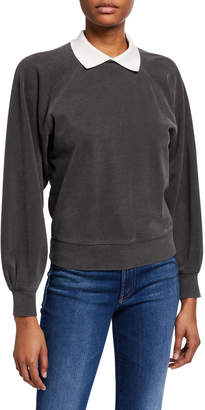 Amo Denim Collared Puff-Sleeve Prep Sweatshirt