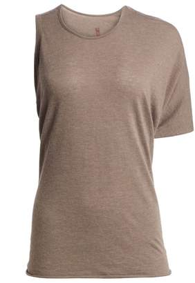 Rick Owens Lilies One-Sleeve Wool-Blend Draped Tee