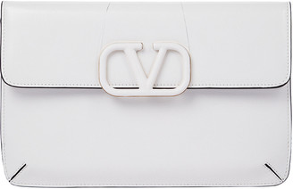 Valentino VLogo Envelope Leather Clutch