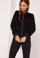 Missguided Faux Wool Bomber Jacket Black