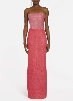 St. John Lined Glittering Metallic Knit Strapless Gown