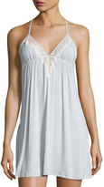 Underella by Ella Moss Colette Polka-Dot Lace-Trimmed Chemise, Gray