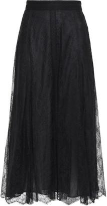 Valentino Point D'esprit-trimmed Silk-lace Midi Skirt