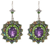 Stephen Dweck Sterling Silver Amethyst, Chrome Diopside, Smoky Quartz, & Abalone Drop Earrings