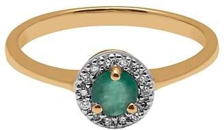 A B Davis 9ct Yellow Gold Round Emerald and Diamond Engagement Ring