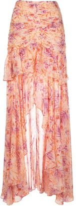 AMUR Silk Floral Print Maxi Skirt