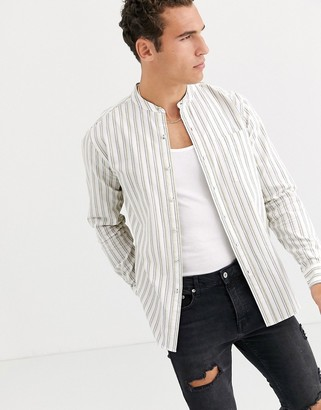 Topman long sleeve shirt with grandad collar in white stripe