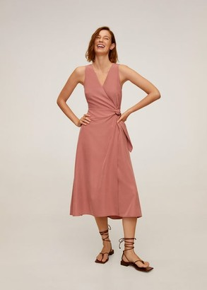 MANGO Modal wrap dress pastel pink - 2 - Women