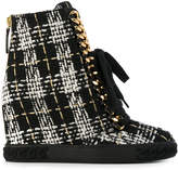 Casadei tweed wedge sneakers