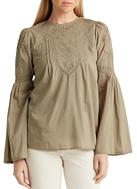 Ralph Lauren Ralph Embroidered Bell-Sleeve Blouse