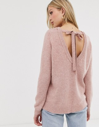 Vila open back knitted jumper-Pink