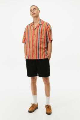 Urban Outfitters Striped Short-Sleeve Shirt - Orange S at