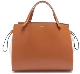Jil Sander Leather And Canvas Drawstring Handbag - Womens - Tan Multi