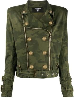 Balmain Camouflage Print Military Jacket