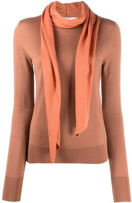 Victoria Beckham Scarf Detail Wool Jumper