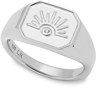 Lola Rose London Celestial Sunburst Signet Ring Silver