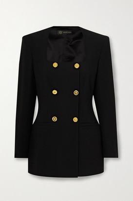 Versace Double-breasted Crepe Mini Dress - Black