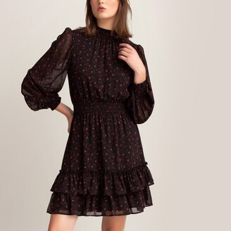La Redoute Collections Floral Print Tiered Mini Dress with High-Neck and Long Puff Sleeves