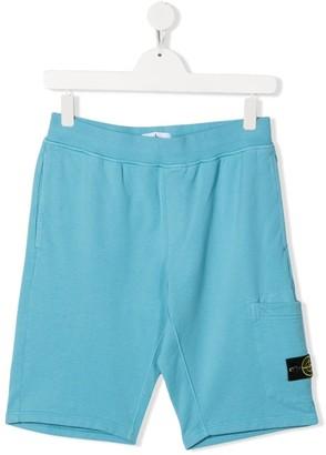 Stone Island Junior TEEN logo-patch shorts