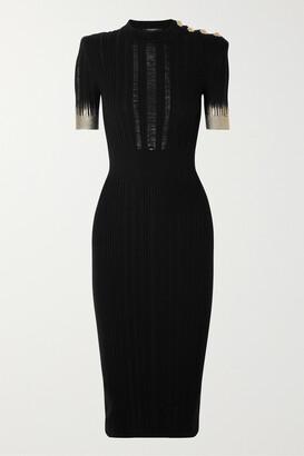 Balmain Button-embellished Metallic Ribbed Silk, Wool And Cashmere-blend Midi Dress