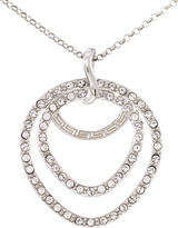 SIS Crystal Platinum-Plated Silver Double Teardrop Pendant Necklace by Simone I. Smith