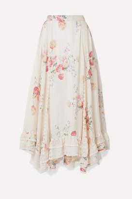 LoveShackFancy Navya Asymmetric Lace-trimmed Floral-print Washed-silk Skirt - Ivory