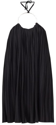 Balmain Ring Halterneck Pleated-jersey Dress - Womens - Black