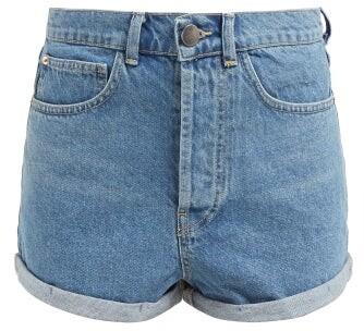 Raey Low Cut Off Denim Shorts - Womens - Light Blue