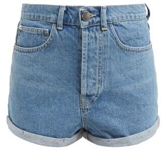 Raey Low Cut-off Denim Shorts - Womens - Light Blue