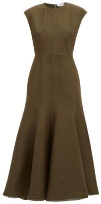 Gabriela Hearst Crowther Flared-hem Wool-blend Pique Maxi Dress - Khaki
