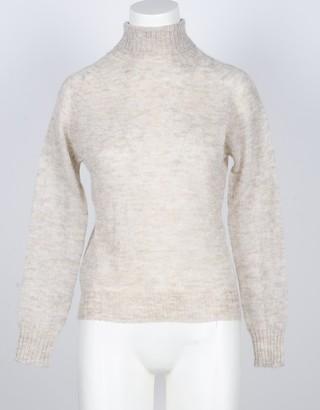 Pink Memories Beige Mohair Wool Blend Women's Turtleneck Sweater