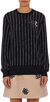 Christopher Kane Women's Embellished Pinstriped Wool Sweater-BLACK