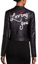 Alice + Olivia Gamma Embellished Leather Jacket