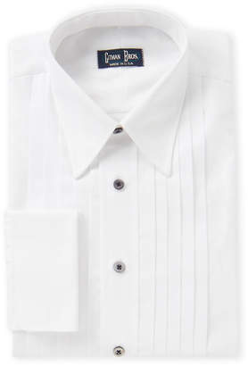 Gitman Bros. White French Cuff Pleated Formal Dress Shirt