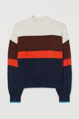 H&M Knit Mock-turtleneck Sweater - Blue