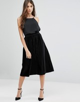 Vila Midi Pleated Velvet Skirt