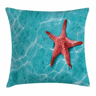 """East Urban Home Starfish Decor Vivid Water Square Pillow Cover East Urban Home Size: 16"""" x 16"""""""
