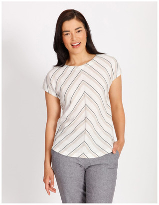 Regatta Etched Extended Short Sleeve Top With Diagonal Stripe Front
