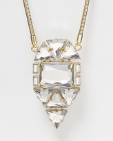 "Aqua Geometric Pendant Necklace, 32"""