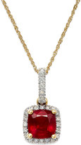 Macy's Ruby (1-1/3 ct. t.w.) and Diamond Accent Pendant Necklace in 14k Gold