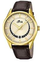 Lotus Men's Quartz Watch with Gold Dial Analogue Display and Brown Leather Strap 15979/1